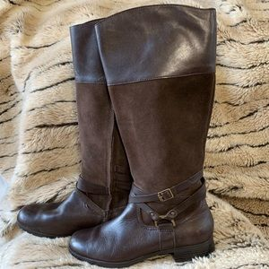 Ralph Lauren knee high brown leather boots size 8